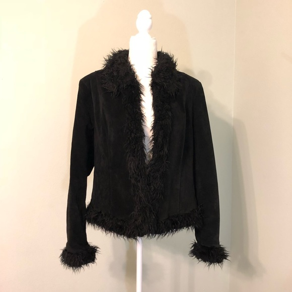d69415c21f011 Vintage 70s Genuine Suede Faux Fur Trim Jacket